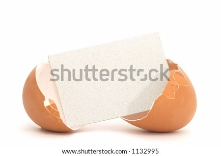 Cracked Egg with Blank Card #1 - stock photo