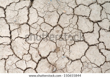 Cracked Ground, Earthquake Background, Texture - stock photo
