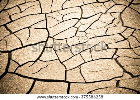 Cracked ground: the effects of drought - toned image - stock photo