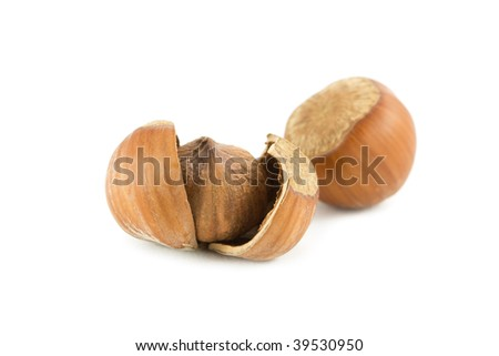 Cracked Hazelnuts isolated on white
