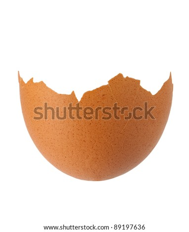 Cracked hen's egg isolated on white background with clipping path