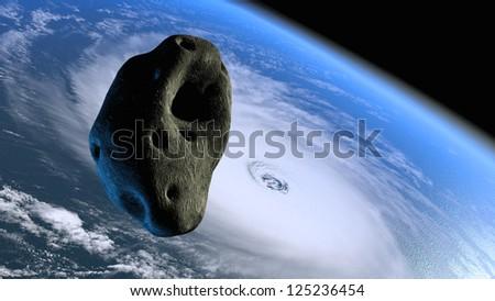 Cracked lava asteroid flying toward Earth - stock photo