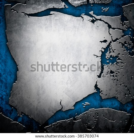 cracked metal plate - stock photo