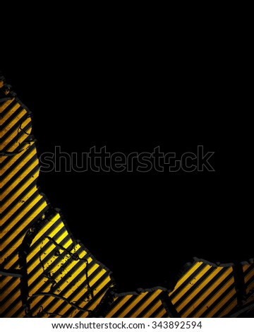 cracked metal plate with warning stripes  - stock photo