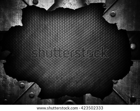 cracked metal with mesh background
