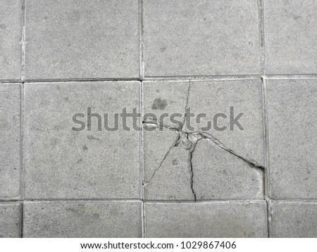 Cracked Pathway Close Up Cement Floors Top View Tile