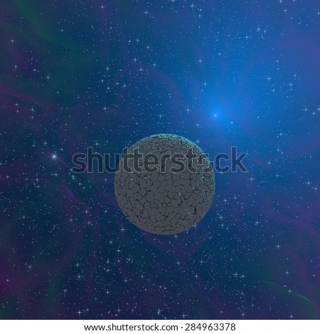 Cracked planet orbiting in blue interstellar space - 3d rendered illustration. - stock photo