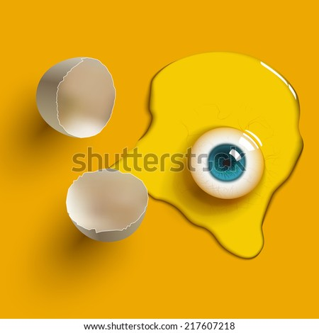 cracked raw egg with eye - stock photo