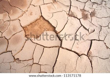 cracked soil ground into the dry season - stock photo