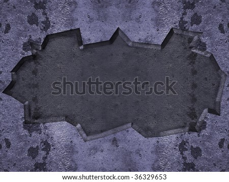cracked Steel background on the center structure in metal color with little rushed. - stock photo