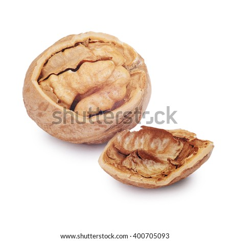 Cracked walnut isolated on the white background. Clipping Path