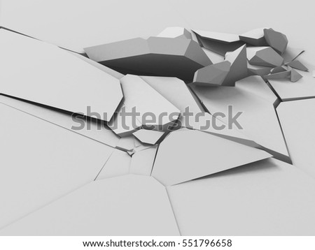 Cracked white ground surface. Destruction background. 3d render illustration