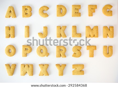 Cracker alphabet A-Z isolated on over white background - stock photo