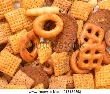 Cracker snack mix on background  - stock photo