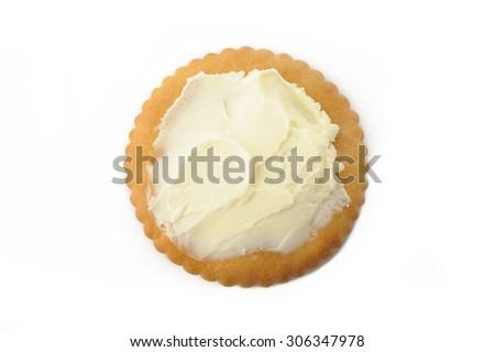 cracker with cream cheese - stock photo