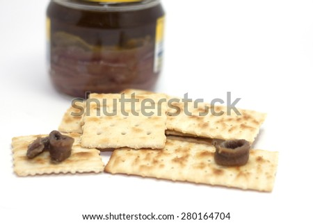 crackers and anchovy appetizer