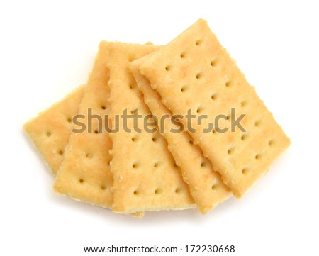 Crackers isolated on white, clipping path included  - stock photo