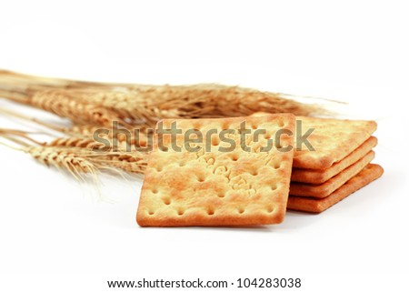Crackers & Wheat isolated on white background - stock photo