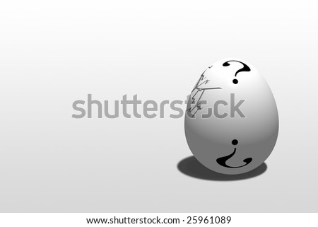 Cracking egg with Question Mark