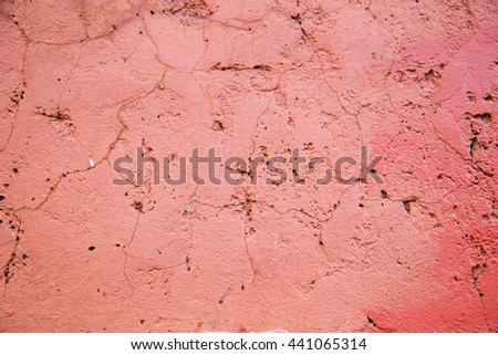 cracks concrete wall in red color