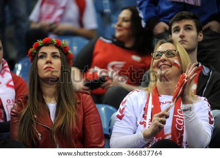 CRACOV, POLAND - JANUARY 23, 2016: Men's EHF European Handball Federation EURO 2016 Krakow Tauron Arena France - Croatia o/p: poland fans