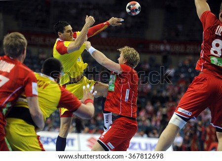 CRACOV, POLAND - JANUARY 25, 2016: Men's EHF European Handball Federation EURO 2016 Krakow Tauron Arena Macedonia Norway