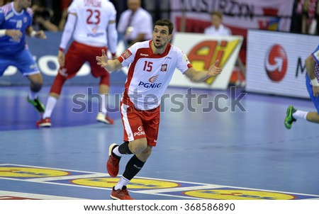 CRACOV, POLAND - JANUARY 27, 2016: Men's EHF European Handball Federation EURO 2016 Krakow Tauron Arena Poland Croatia o/p: Michal Jurecki