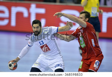 CRACOV, POLAND - JANUARY 27, 2016: Men's EHF European Handball Federation EURO 2016 Krakow Tauron Arena France Norway o/p: Nikola Karabatic Christian O'Sullivan