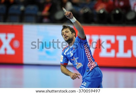 CRACOV, POLAND - JANUARY 29, 2016: Men's EHF European Handball Federation EURO 2016 Krakow Tauron Arena Norway Croatia  o/p: Zlatko Horvat