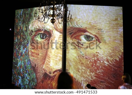 CRACOW, POLAND - AUGUST 18,2016: The exhibition Van Gogh Alive - The Experience at The Old Train Station in Krakow. Poland