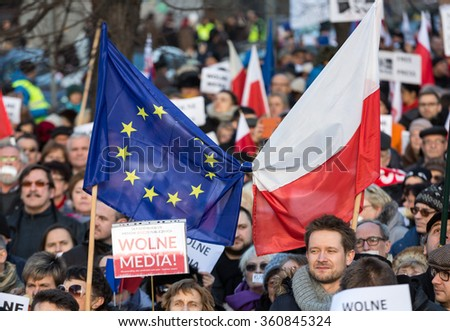 CRACOW, POLAND - JANUARY 9, 2016:  -  The demonstration of the Committee of the Defence  of the Democracy  KOD  for free media /wolne media/ and democracy against PIS government. Cracow , Poland - stock photo