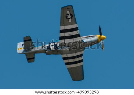 CRACOW, POLAND - JUNE 25 2016: P-51 Mustang 'Louisiana Kid' (registration 473254) fly over Cracow