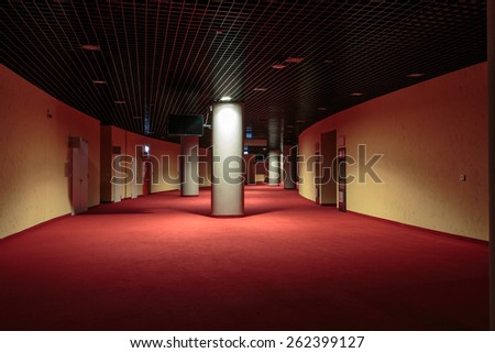 CRACOW, POLAND - MARCH 17, 2015: Modern interior. Tauron Arena Krakow is the biggest in Poland and one of the most modern in the world hall entertainment and sports venue.  Cracow, Poland