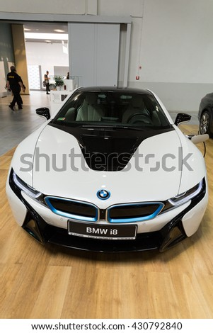 CRACOW, POLAND - MAY 21, 2016: BMW i8 Hybrid displayed at 3rd edition of MOTO SHOW in Krakow. Poland.Exhibitors present  most interesting aspects of the automotive industry - stock photo