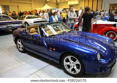 CRACOW, POLAND - MAY 21, 2016:  3rd edition of MOTO SHOW in Krakow. Poland. Exhibitors present  most interesting aspects of the automotive industry - stock photo