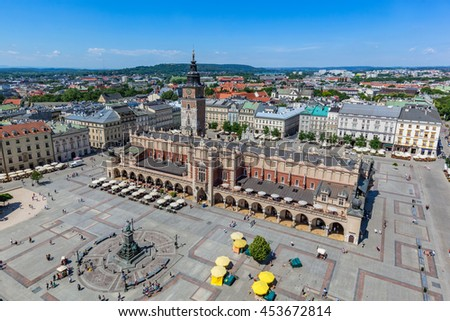 Cracow, Poland. View on the the old town market square and Cloth Hall from the top of the St. Mary's Basilica Tower. - stock photo