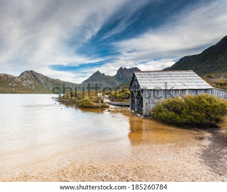 Cradle Mountain and Dove Lake in Lake St Clair National Park, Tasmania, Australia - stock photo