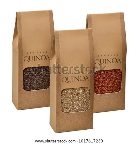 Craft Brown Paper Bag With Red Black And Yellow Quinoa Seeds In Transparent Window On