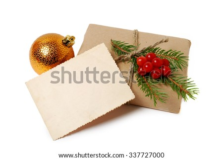 Craft gift boxes with greeting card for text. Christmas, New Year holiday background
