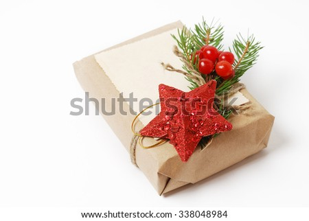 Craft gift boxes with greeting card for text. Christmas, New Year holiday background  - stock photo