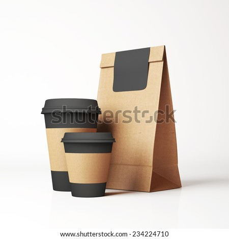Craft paper bag and cups - stock photo