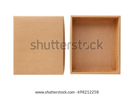 Craft paper box with lid isolated on white background