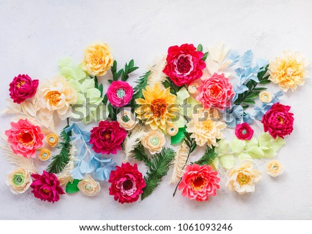 Craft paper flowers crepe paper floral stock photo royalty free craft paper flowers crepe paper floral design elements colorful peonies dahlia ranunculus mightylinksfo