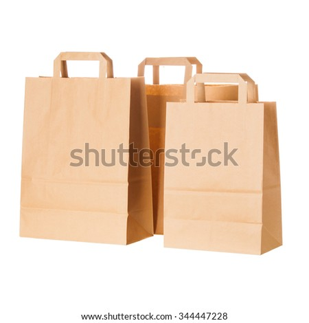 craft paper shopping bags isolated on white background - stock photo