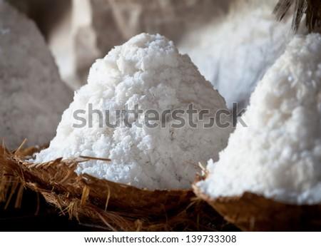 Craft production of salt - salt heaps close-up - stock photo