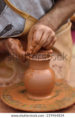 crafts and ancient crafts: pottery - stock photo