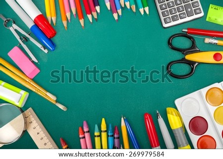 Crafts. School and office tools. View from above. Isolated on white background - stock photo