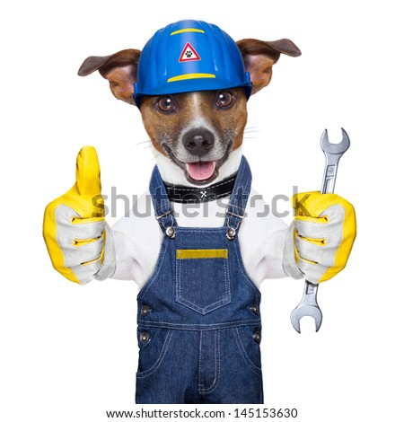 craftsman dog with one thumb up holding a tool - stock photo