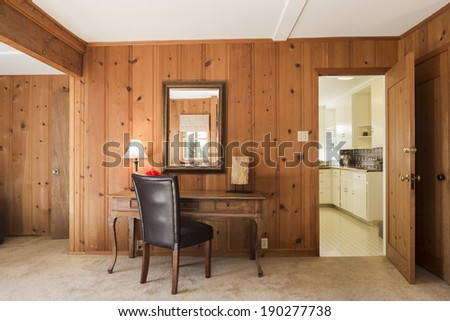 Craftsman style home office with crafts style furnishings - stock photo