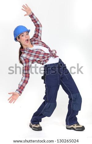 craftswoman slipping - stock photo
